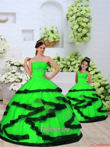 Trendy Beading and Ruching Spring Green Princesita Dress for 2015 Spring