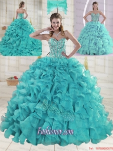 Aqua Blue Sweetheart Brush Train Beading Quinceanera Dresses