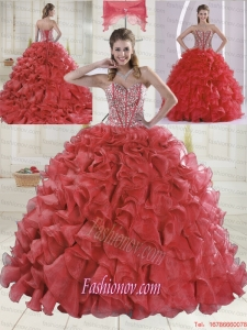 Beautiful Sweetheart Coral Red Quinceanera Dresses with Brush Train