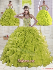 Most Popular Sweetheart Brush Train Beading Quinceanera Dresses