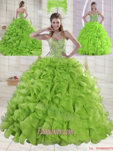 Popular Sweetheart Brush Train Quinceanera Gowns with Beading