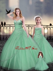 Beaded and Applique Apple Green Macthing Sister Dresses in Tulle