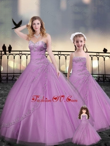 Custom Made Beaded and Applique Macthing Sister Dresses in Lilac