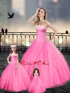 Custom Made Beaded and Applique Macthing Sister Dresses in Pink
