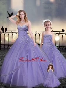 Lavender Macthing Sister Dresses in Tulle with Beading and Appliques