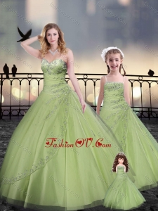 Yellow Green Macthing Sister Dresses in Tulle with Beading and Appliques