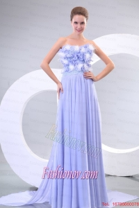 Lavender Strapless Empire Appliques and Laciness Watteau Train Prom Dress