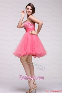 Pink Strapless Beaded Short Prom Dress with A-line