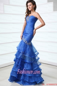 Sexy Blue Mermaid Sweetheart Floor-length Organza 2015 Spring Prom Dress with Beading