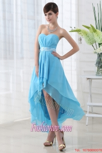 A-line Baby Blue Chiffon High-low Sweatheart Dress Prom with Belt