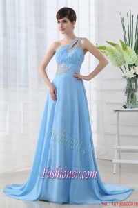 Aqua Blue One Shoulder Beading and Ruching Court Train Prom Dress