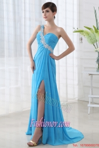 Empire High Slit Prom Dress with Ruchings and Beading One Shoulder Aqua Bue