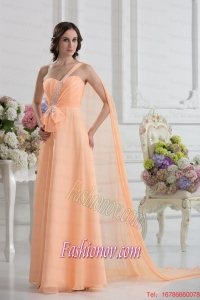 One Shoulder Empire Prom Dress with Watteau Train with Orange