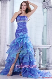 Strapless Beading and Ruffles Layered Mermaid Purple and Blue Prom Dress