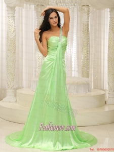 Beaded Decorate One Shoulder Ruched Bodice For Yellow Green 2015 Plus Size Prom Dress