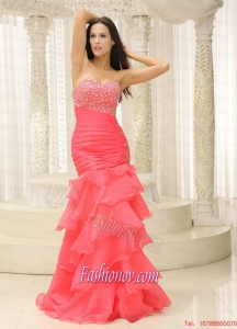Mermaid Sweetheart Beaded Decorate Bust Ruched Bodice and Layers For 2015 Prom Dress Customize
