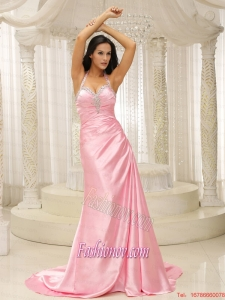 Rose Pink Halter Top Ruched Bodice For 2015 Prom Dress Brush Train In Kansas