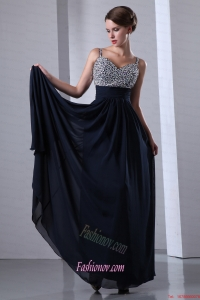 Dark Navy Blue Straps Chiffon Beading Prom Dress with Colorful Beading