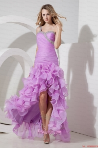 Lavender Column Sheath One Shoulder Prom Dress High-low Organza Beading