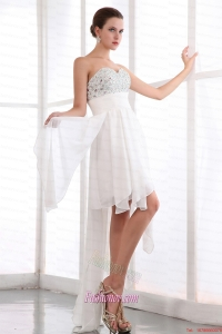 White Empire Sweetheart Prom Dress Asymmetrical Chiffon Beading