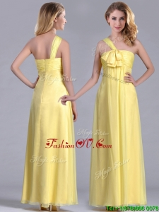 Exclusive One Shoulder Chiffon Yellow Dama Dresses for Quinceanera in Ankle Length
