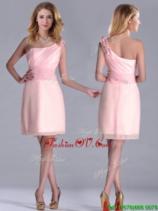 Exquisite One Shoulder Side Zipper Dama Dresses for Quinceanera in Baby Pink