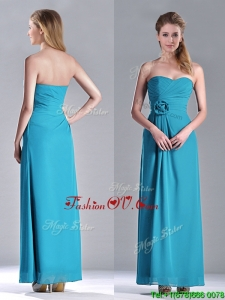 Hot Sale Ankle Length Hand Crafted Flower Dama Dresses for Quinceanera in Teal