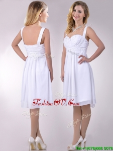 New Applique Decorated Straps and Waist White Dresses Dress in Chiffon