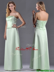 Discount Column Ruching Satin Dama Dress with Strapless