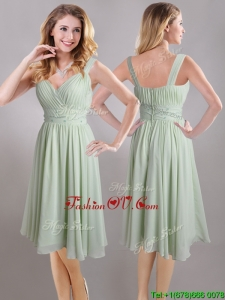 Exclusive Beaded and Ruched Apple Green V Neck Dama Dress in Chiffon