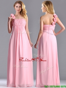 New Style Baby Pink Dama Dresses for Quinceanera with Handcrafted Flowers Decorated One Shoulder