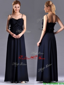 Simple Empire Straps Chiffon Ruching Navy Blue Dama Dresses for Quinceanera for Holiday