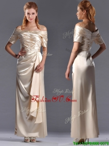 Column Off the Shoulder Ruching Mother Dress in Champagne