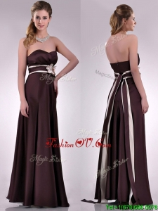 Top Selling Applique Decorated Waist Brown Mother Dress in Taffeta