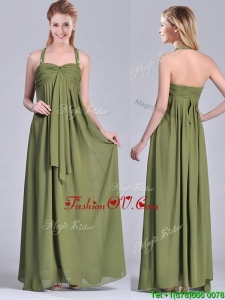 Top Selling Beaded Decorated Halter Top Mother Dress in Olive Green