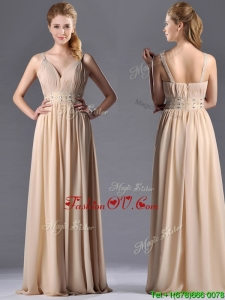 Top Selling Champagne Empire Straps Beaded Chiffon Mother Dress for Graduation