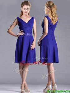 Top Selling Empire Chiffon Zipper Up Mother Dress with V Neck