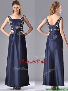 Top Selling Empire Square Taffeta Beading Long Mother Dress in Navy Blue