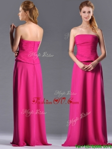 Top Selling Hot Pink Strapless Long Mother Dress with Zipper Up