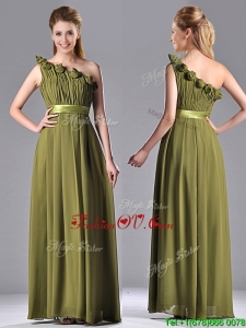 Top Selling One Shoulder Ruched and Belt Mother Dress in Olive Green