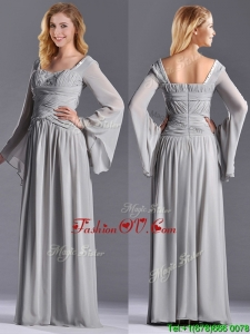 Top Selling Square Beaded and Ruched Mother Dress with Long Sleeves