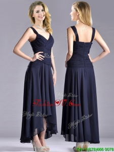 Top Selling Straps Black Chiffon Mother Dress with High Low