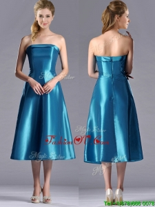 2016 Luxurious A Line Strapless Tea Length Dama Dresses in Teal