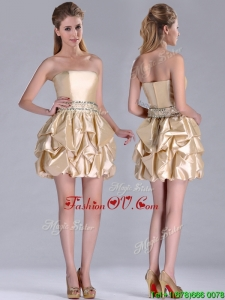Beautiful Strapless Beaded and Bubble Short 2016 Dama Dresses in Champagne