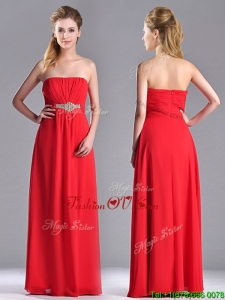 Beautiful Strapless Chiffon Red 2016 Dama Dresses with Beading and Ruching