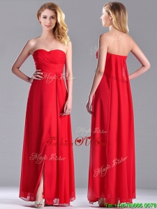 Beautiful Sweetheart Chiffon Ruched Red 2016 Dama Dresses in Ankle Length