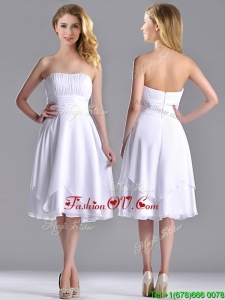 Cheap Strapless Chiffon White 2016 Dama Dresses with Ruched Decorated Bust