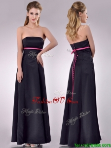 Classical Black Ankle Length 2016 Dama Dresses with Hot Pink Belt