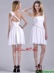 Classical Criss Cross White2016 Dama Dresses with Hand Crafted Flowers