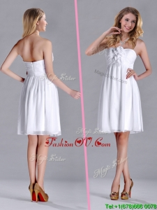 Discount White Strapless Short 2016 Dama Dresses with Hand Made Flowers